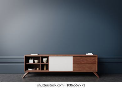 Tv cabinet in modern empty room,Dark wall, 3d rendering