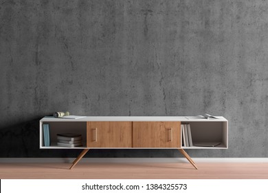 TV cabinet in modern living room with blank gray wall background. 3d illustration