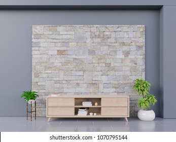 Tv cabinet on brick  wall background, with wooden cabinet and plants ,3d rendering