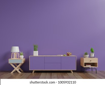 Tv cabinet with plants and lamp have wall ultra violet color of the year 2018 ,3D rendering