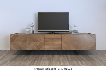 TV cabinet with plasma and decorations, brown ikea cabinet with silver decorations and frame on it. 3D render