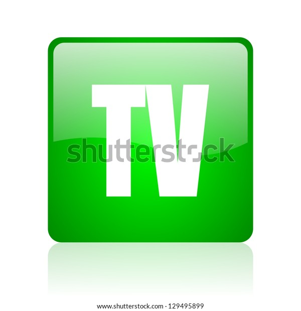 tv green square web icon on white background