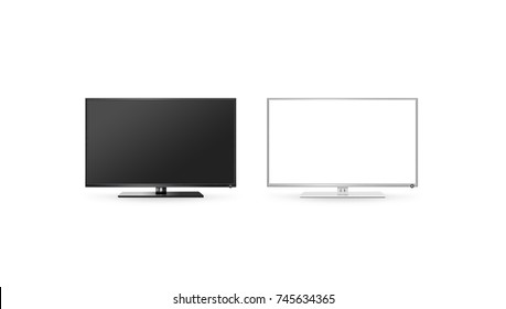 TV lcd flat screen mock up isolated, black and white set, 3d rendering. Hd telly monitor mockup front view. Modern electronic multimedia panel mock-up. Display television digital boxes.