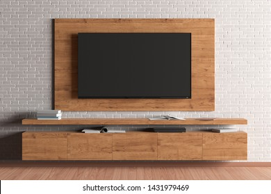 TV mock up on the wooden plate and cabinet on the white brick wall in the modern living room. 3d illustration