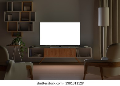 Tv mockup in living room at night. Tv screen, tv cabinet, chairs, bookshelf. 3d illustration