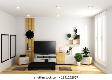 TV in modern white empty room interior minimal designs - Japanese style. 3d rendering