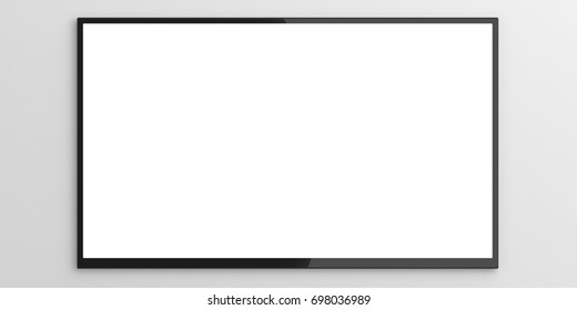 TV monitor. Blank wall TV widescreen on white background, copy space. 3d illustration