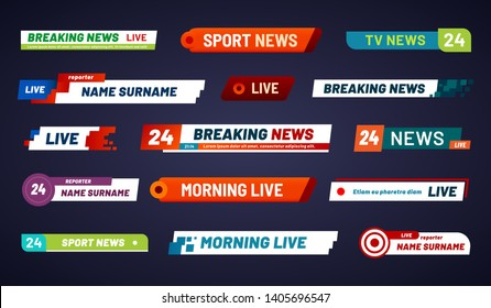 Tv news bar. Television broadcast media title banner. Sports tv show news channel media bar header or football advertising channels bars. Isolated  symbols set