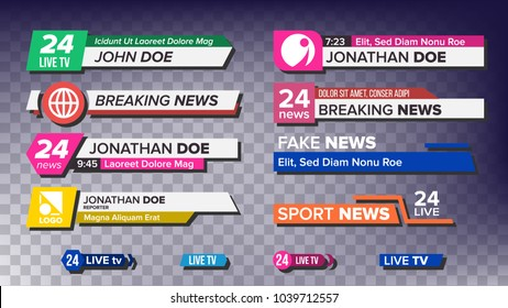 TV News Bars Set. Breaking, Sport News. Media labels Tag For Television Broadcast. Illustration
