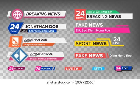 TV News Bars Set. Sign Of Lower Third. Label Strip, Icon. Media Tag For Television Broadcast. Illustration