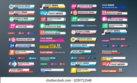 TV News Bars Set. Streaming Video News Sign. Breaking, Sport News. Interface Sign. Illustration