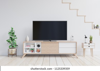 TV on the cabinet in modern living room with plants in living room with empty white wall. 3D rendering.