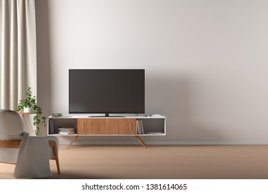 TV on the cabinet in modern living room on white wall background with blank space. 3d illustration