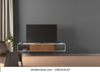 TV on the cabinet in modern living room on gray wall background with blank space. 3d illustration
