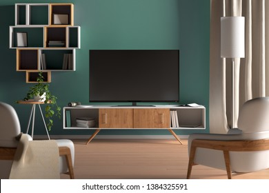 TV on the cabinet in modern living room on turquoise wall background. 3d illustration