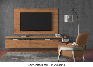 TV on the gray concrete wall of modern living room with cabinet, brown leather armchair, coffee table, floor lamp and fur carpet. 3d illustration