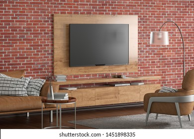 TV on the red brick wall of modern living room with cabinet, brown leather armchair and couch, coffee table, floor lamp and fur carpet. 3d illustration