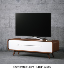 Tv on vintage wooden tv stand in concrete interior 3D render