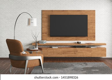 TV on the white brick wall of modern living room with brown leather armchair, couch, coffee table, floor lamp and fur carpet. 3d illustration
