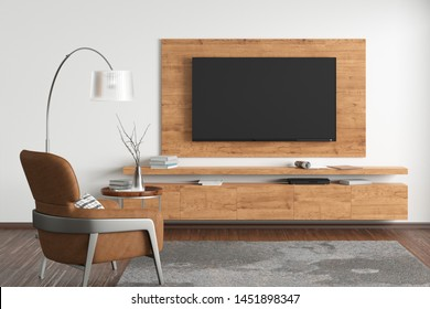 TV on the white wall of modern living room with cabinet, brown leather armchair, coffee table, floor lamp and fur carpet. 3d illustration