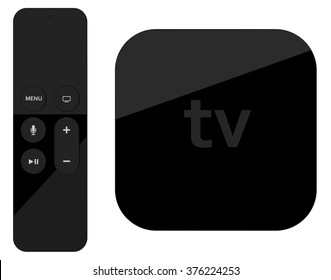 Tv player box device with remote wireless pilot. High detailed.