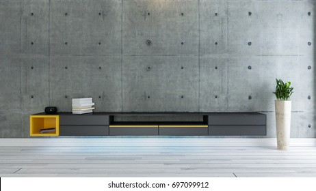 tv room salon or living room with covered concrete wall plant and black tv stand design 3D rendering