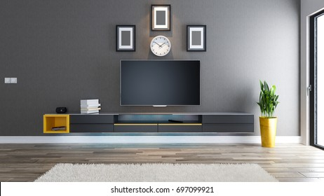tv room salon or living room with covered wallpaper wall plant and black tv stand design 3D rendering
