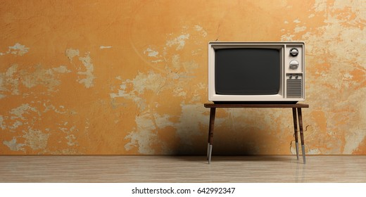 TV room. Vintage television on a painted wall background. Front view, copy space. 3d illustration