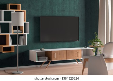 TV screen on the turquoise wall in modern living room. 3d illustration
