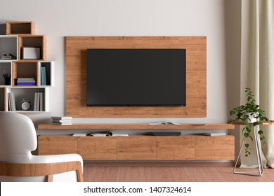 TV screen on the wall with wooden plate above the cabinet in modern living room with white wall, armchair, bookshelf, curtain, plant. 3d illustration