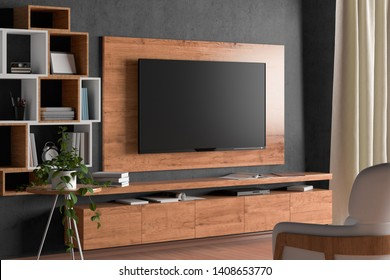 TV screen on the wall with wooden plate above the cabinet in modern living room with gray wall, armchair, bookshelf, curtain, plant. 3d illustration