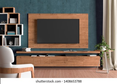 TV screen on the wall with wooden plate above the cabinet in modern living room with cyan wall, armchair, bookshelf, curtain, plant. 3d illustration