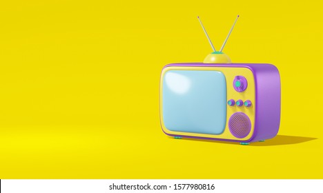 TV set with antenna cartoon style bright violet color yellow background. Minimalistic vintage design concept. 3D rendering
