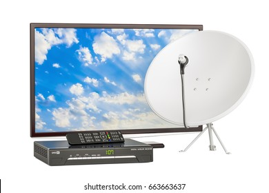 TV set with digital satellite receiver and satellite dish, telecommunications concept. 3D rendering