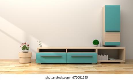 Tv shelf blue  in  modern empty room. 3d rendering