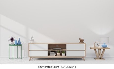 Tv shelf in modern empty room and white wall. 3d rendering