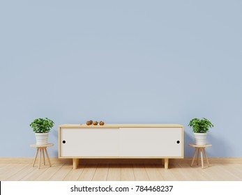 Tv shelf in modern empty room have back blue wall background, 3d rendering