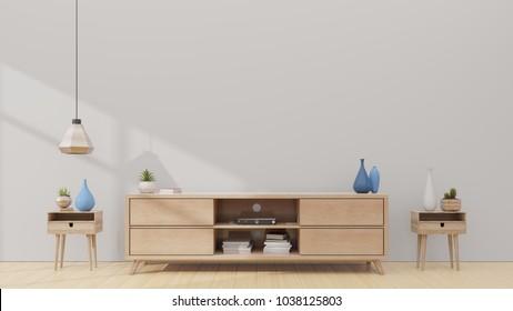Tv shelf in modern empty room,minimal design, 3d rendering