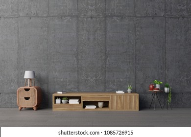 Tv shelf on the in modern living room the concrete wall,3d rendering