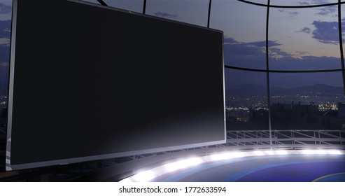 TV show backdrop, with video wall. Ideal for virtual tracking system sets, with green screen. (3D rendering)