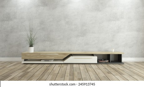 tv stand with concrete wall 3D rendering