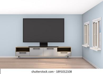 tv stand in living room. 3D illustration