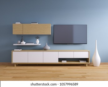 TV Stand ,Modern Interior Of Living Room Design , Wood Cabinet On Dark Blue  Wall