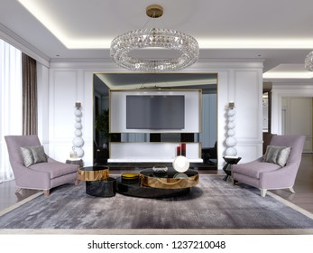 TV stand in Suite living room with TV in large glossy black frame with large candlesticks near, modern apartment. 3D rendering.