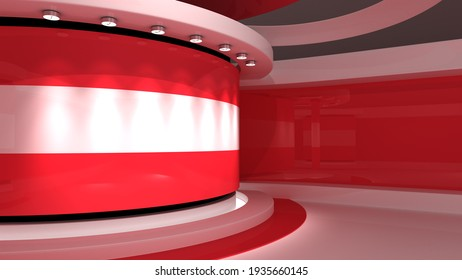 TV studio. Austria. Austrian flag. News studio.  Loop animation. Background for any green screen or chroma key video production. 3d render. 3d
