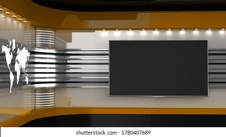 Tv Studio. Backdrop for TV shows. TV on wall. News studio. The perfect backdrop for any green screen or chroma key video or photo production. 3D rendering.