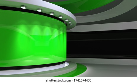 Tv studio. Green Studio. Green backdrop. News studio. The perfect backdrop for any green screen or chroma key video or photo production. Breaking news. 3d rendering.