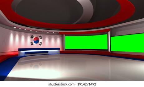 TV studio. Korea. Korean flag. News studio.  Background for any green screen or chroma key video production. 3d render. 3d