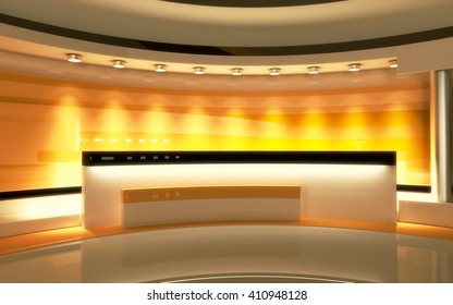 Tv Studio. News studio. The perfect backdrop for any green screen or chroma key video or photo production. 3d render. 3d visualisation