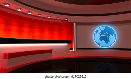 Tv Studio. News studio. Red studio. The perfect backdrop for any green screen or chroma key video or photo production. 3D rendering